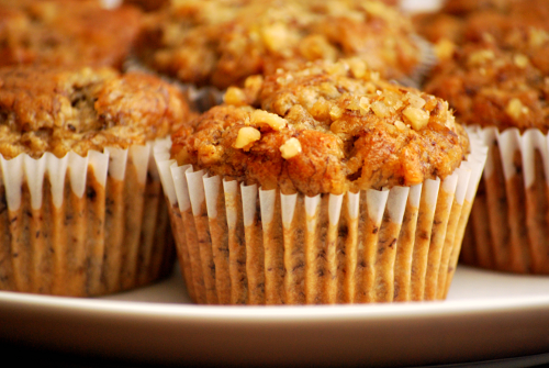 Photograph of banana nut muffins by Personal Chef, Lacey Stevens-Baier, of Sweet Pea Chef, and the food blog, a sweet pea chef