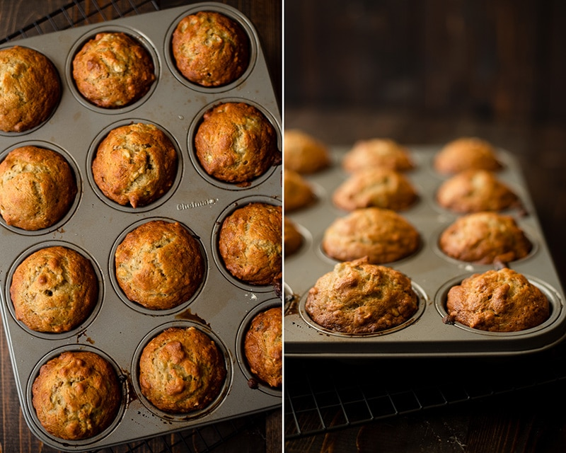 Freshly baked Healthy Banana Nut Muffins in the muffin tin.