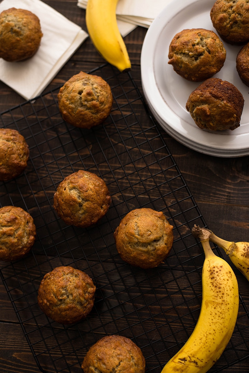 Healthy Banana Nut Muffins | These healthy banana muffins come out perfect: soft and dense, filled with banana flavor and nutty goodness and they are perfect as breakfast, snack or dessert | A Sweet Pea Chef