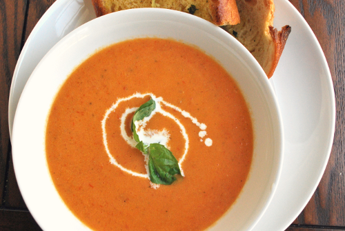 Image and recipe of cream of fresh tomato soup by Personal Chef, Lacey Stevens-Baier, of Sweet Pea Chef, and the food blog, a sweet pea chef
