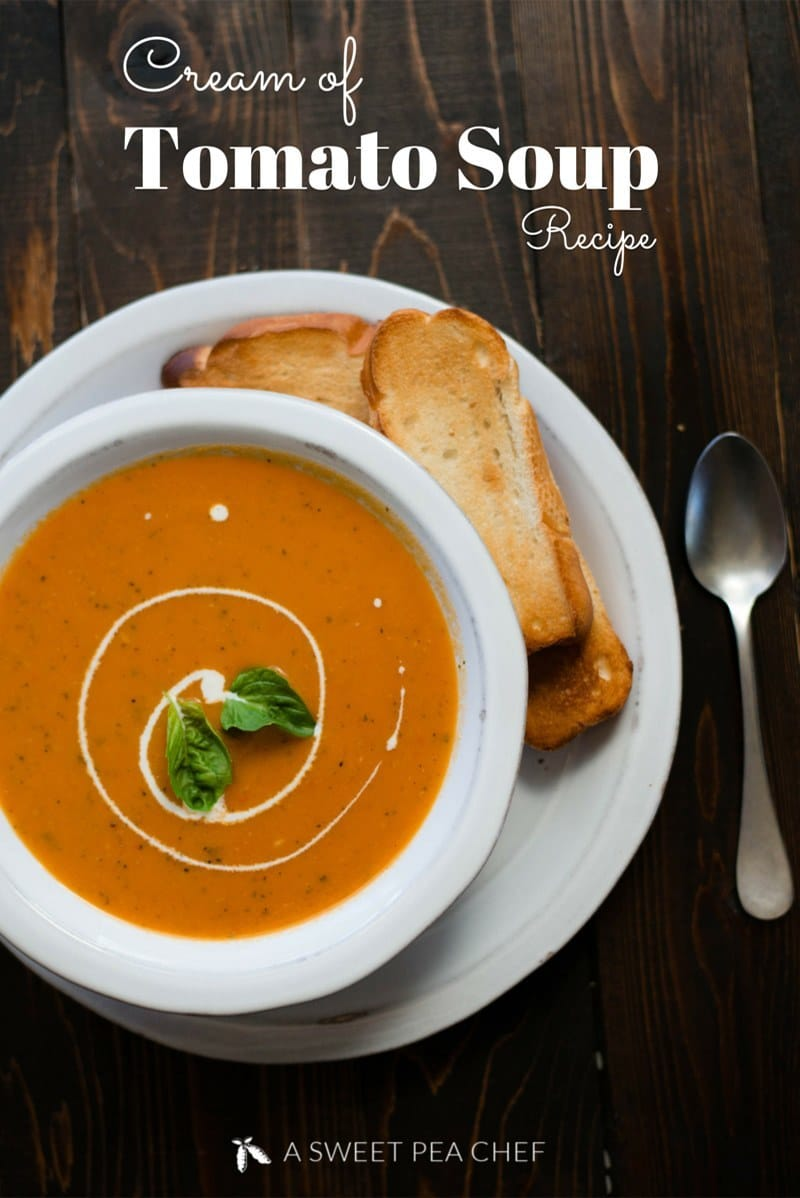 Cream Of Tomato Soup Recipe |  This easy Cream of Tomato Soup recipe is the perfect fresh tomato soup recipe and freezes and reheats very well. Ready in just 35 minutes! | A Sweet Pea Chef