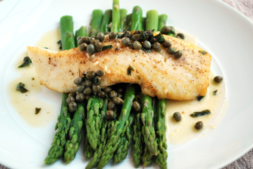 Photograph of Halibut Picatta with Asparagus by Personal Chef, Lacey Stevens-Baier, of Sweet Pea Chef, and the food blog, a sweet pea chef