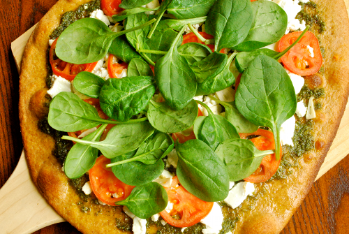 Pesto and Goat Cheese Pizza by Lacey Baier, a sweet pea chef