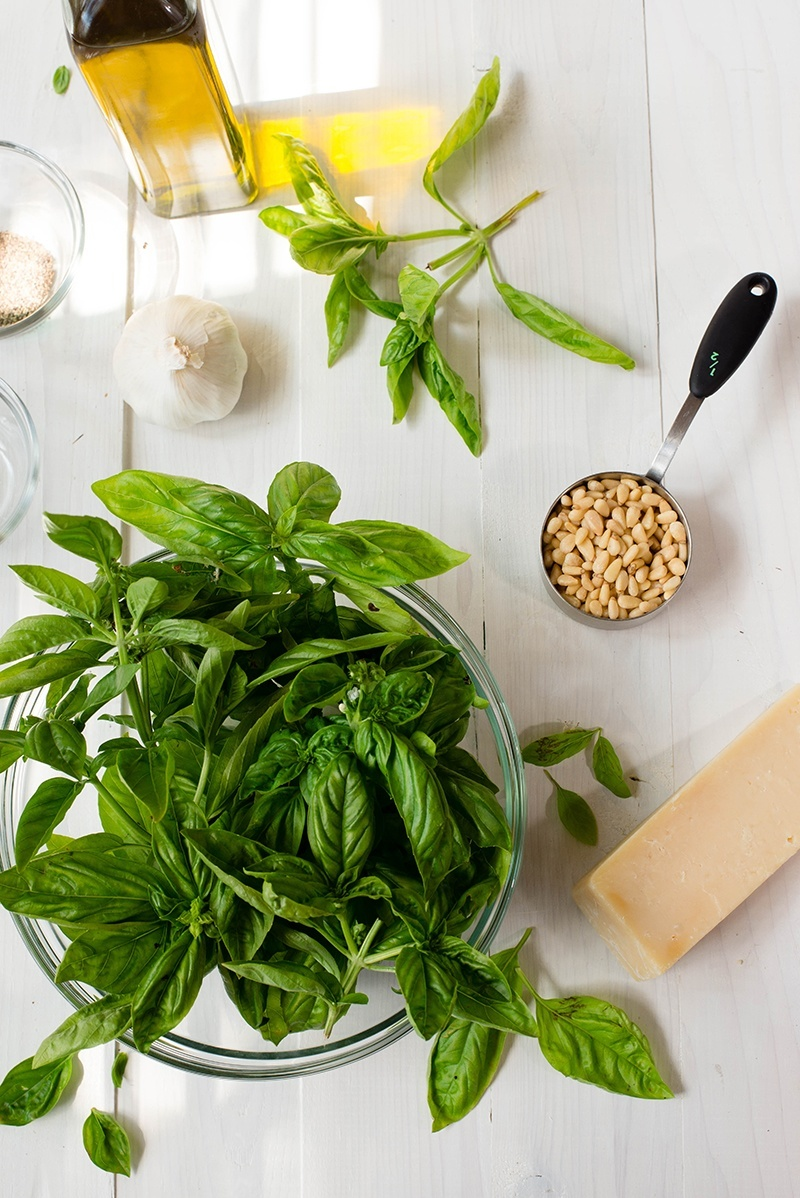 Overhead view of Pesto Sauce Ingredients, which are garlic, olive oil, pine nuts, parmesan, and fresh basil.