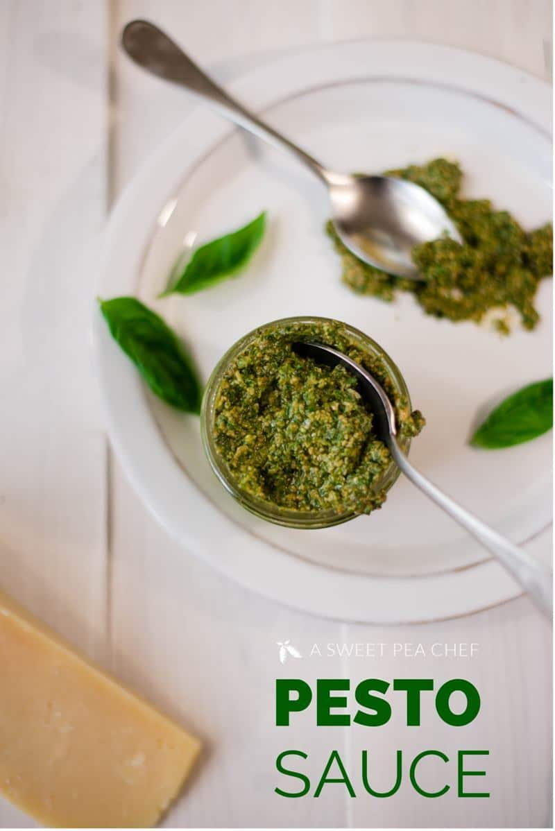 This Healthy Pesto Sauce is about to become your next favorite. It's simple to make, yet packed with good-for-you ingredients. Use it with your favorite dish, on salads, and as a savory spread for sandwiches!