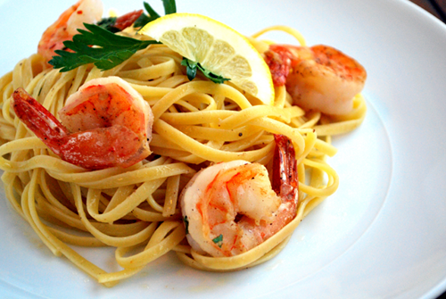 An image and recipe of linguine with shrimp scampi by Lacey Stevens-Baier, personal chef for Sweet Pea Chef