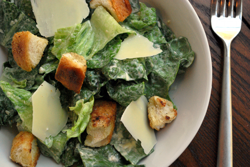 image and recipe for chicken caesar salad by Lacey Stevens-Baier, personal chef and owner of Sweet Pea Chef and food blog a sweet pea chef