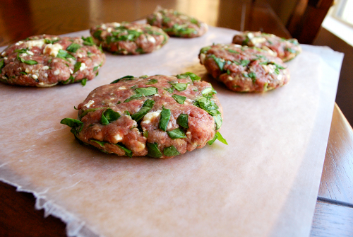 Recipe and image for Spinach and Feta Burgers with Garlic Aioli by Lacey Stevens-Baier, Sweet Pea Chef