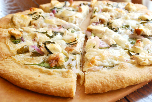 Chicken Alfredo Pizza with Spinach and Red Onion recipe and image by Lacey Stevens-Baier, a Sweet Pea Chef