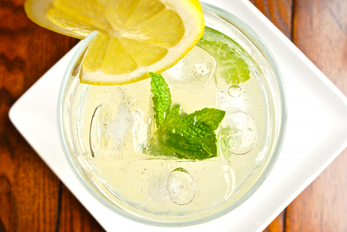 Recipe and image for homemade mint lemonade by Lacey Stevens-Baier, personal chef for Sweet Pea Chef