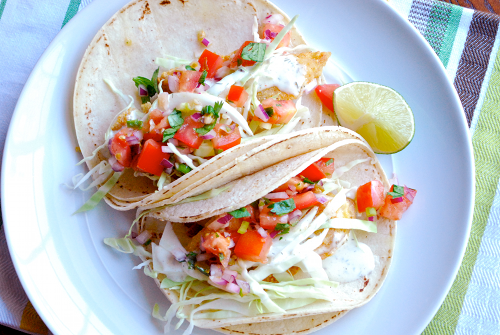 Recipe and images for Baja Fish Tacos with Fresh Pico De Gallo and Creamy White Dill Sauce by Lacey Stevens-Baier, a sweet pea chef