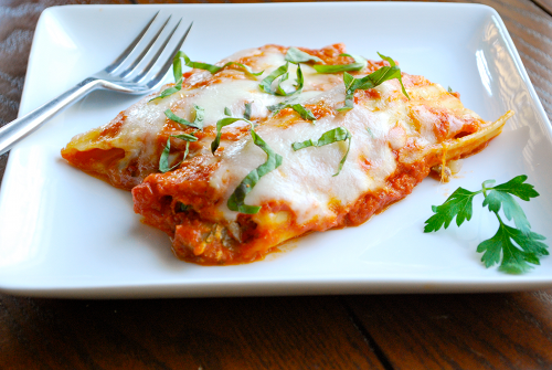 Italian Sausage and Mushroom Stuffed Manicotti recipe and image by Lacey Stevens-Baier, a sweet pea chef