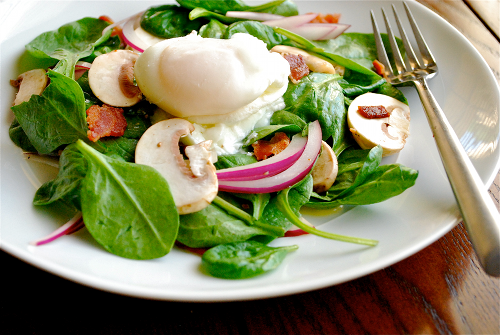 Spinach Salad with Warm Bacon Dressing recipe and images by Lacey Stevens-Baier. a sweet pea chef