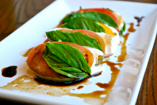 Recipe and images of Caprese Salad by Lacey Stevens-Baier, a sweet pea chef