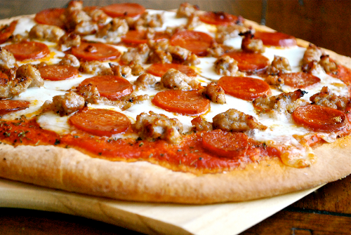 Italian Sausage and Pepperoni Pizza recipe by Lacey Baier, a sweet pea chef
