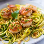 Pan Seared Scallops | This Pan Seared Scallops recipe is a quick and healthy recipe and it includes a zucchini pasta side dish that makes it perfect for a weeknight dinner | A Sweet Pea Chef