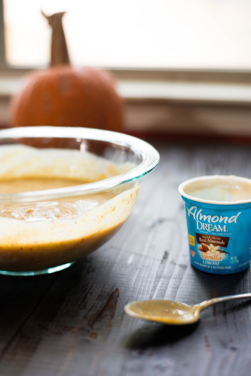 Pumpkin Frozen Yogurt With Candied Pecans | A surprisingly non-dairy, vegan. gluten-free, and healthy pumpkin frozen yogurt. www.asweetpeachef.com