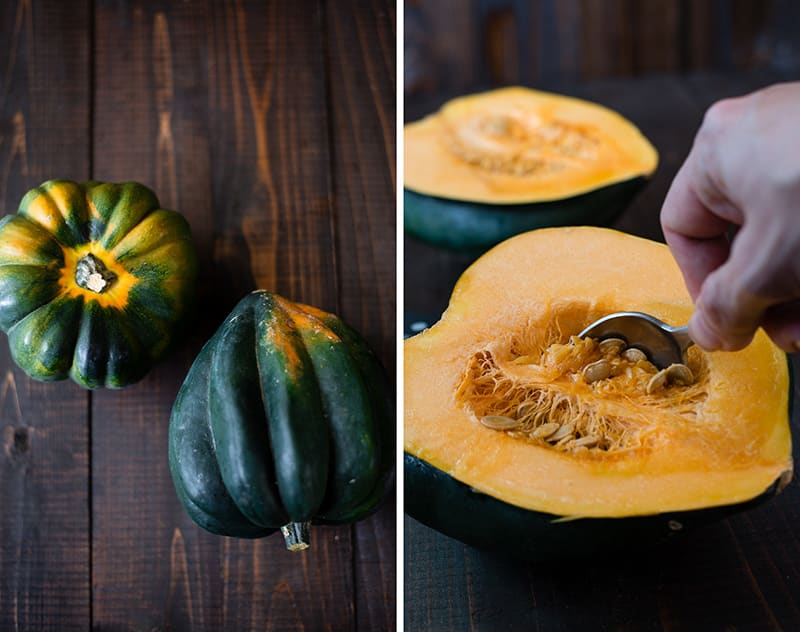 How To Roast Acorn Squash - Removing The Seeds