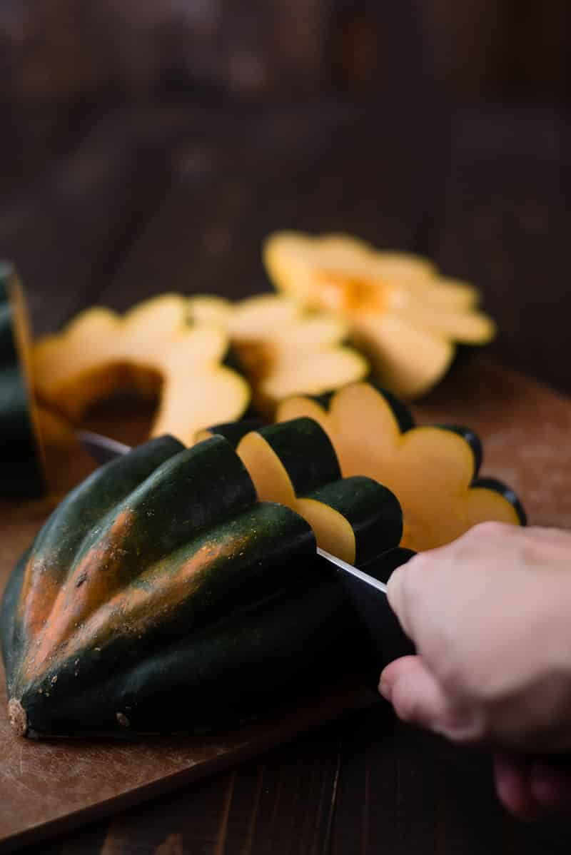 How To Roast Acorn Squash - Cleaned - Sliced