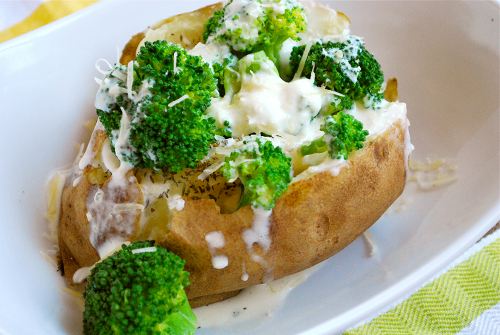 Broccoli and Alfredo Stuffed Baked Potato recipe and images by Lacey Baier, a sweet pea chef
