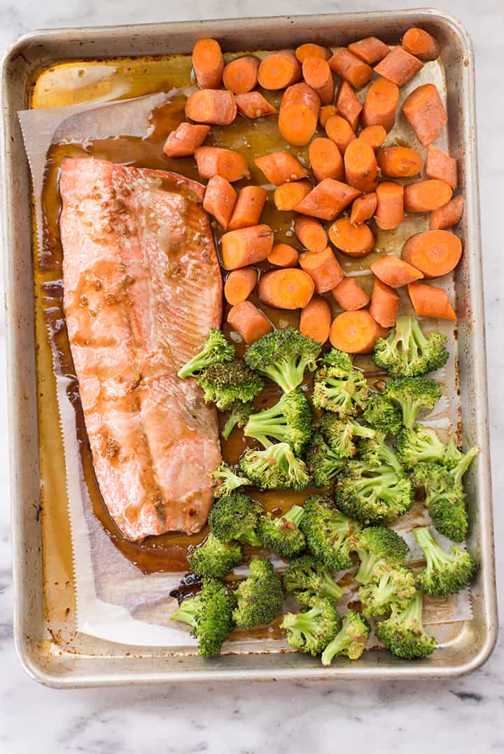 Overhead view of the sheet pan which has been baked in the oven to cook the teriyaki salmon and veggies.