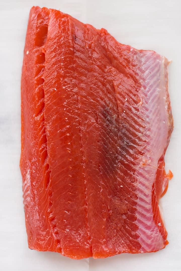 Close up of filet of wild-caught salmon for the teriyaki salmon recipe.