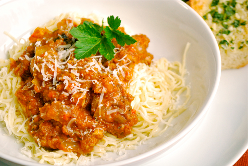 Spaghetti with Meat Sauce recipe and images by Lacey Baier, a sweet pea chef
