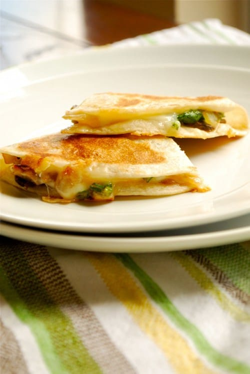 Spinach, Mushroom and Jack Quesadilla recipe and images by Lacey Baier, a sweet pea chef