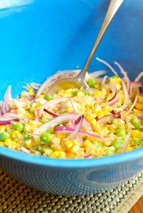 Edamame, Corn and Quinoa Salad recipe and images by Lacey Baier, a sweet pea chef