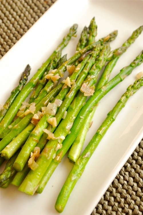 Sauteed Asparagus with Garlic and Shallots recipe by Lacey Baier, a sweet pea chef