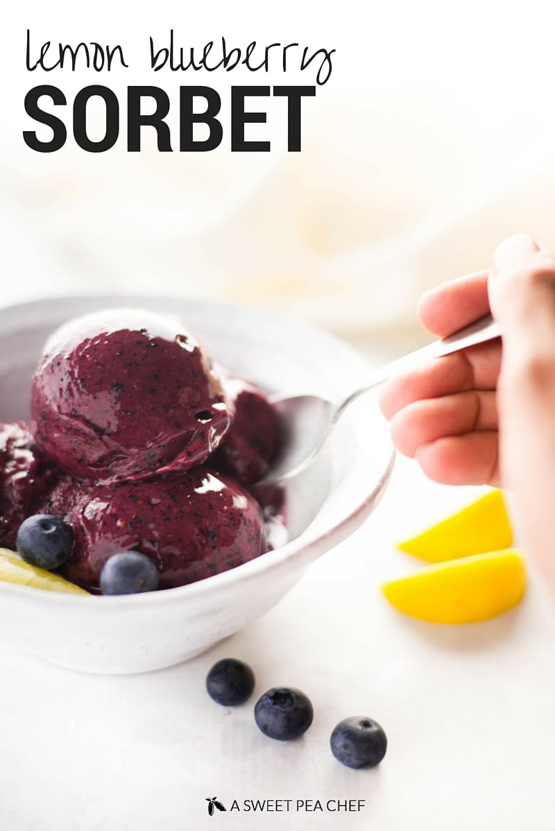Lemon Blueberry Sorbet | 4 ingredients until lemon blueberry goodness! A genius recipe for how to make blueberry sorbet without an ice cream maker. The perfect healthy treat for summer! | A Sweet Pea Chef