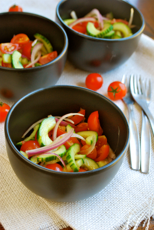Cherry Tomato and Cucumber Salad recipe and images by Lacey Baier, a sweet pea chef