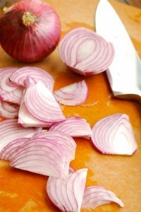 Sliced Red Onion for Roasted Asparagus by Lacey Baier, a sweet pea chef