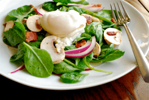 Spinach Salad with Warm Bacon Dressing by Lacey Baier, a sweet pea chef
