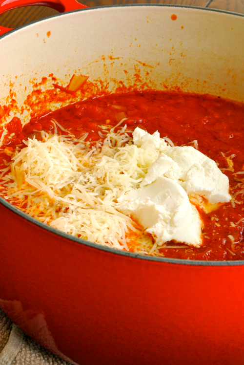 Four Cheese Tomato Sauce recipe and images by Lacey Baier, a sweet pea chef