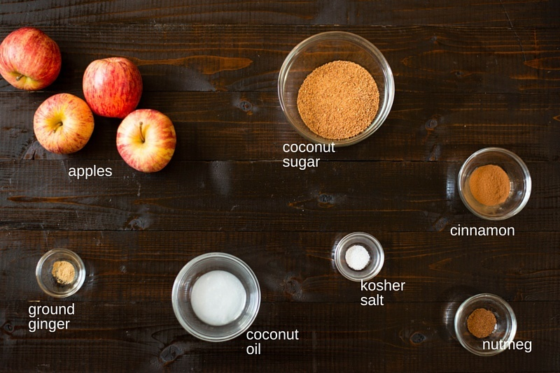 Overhead view of ingredients for healthy cinnamon apples.
