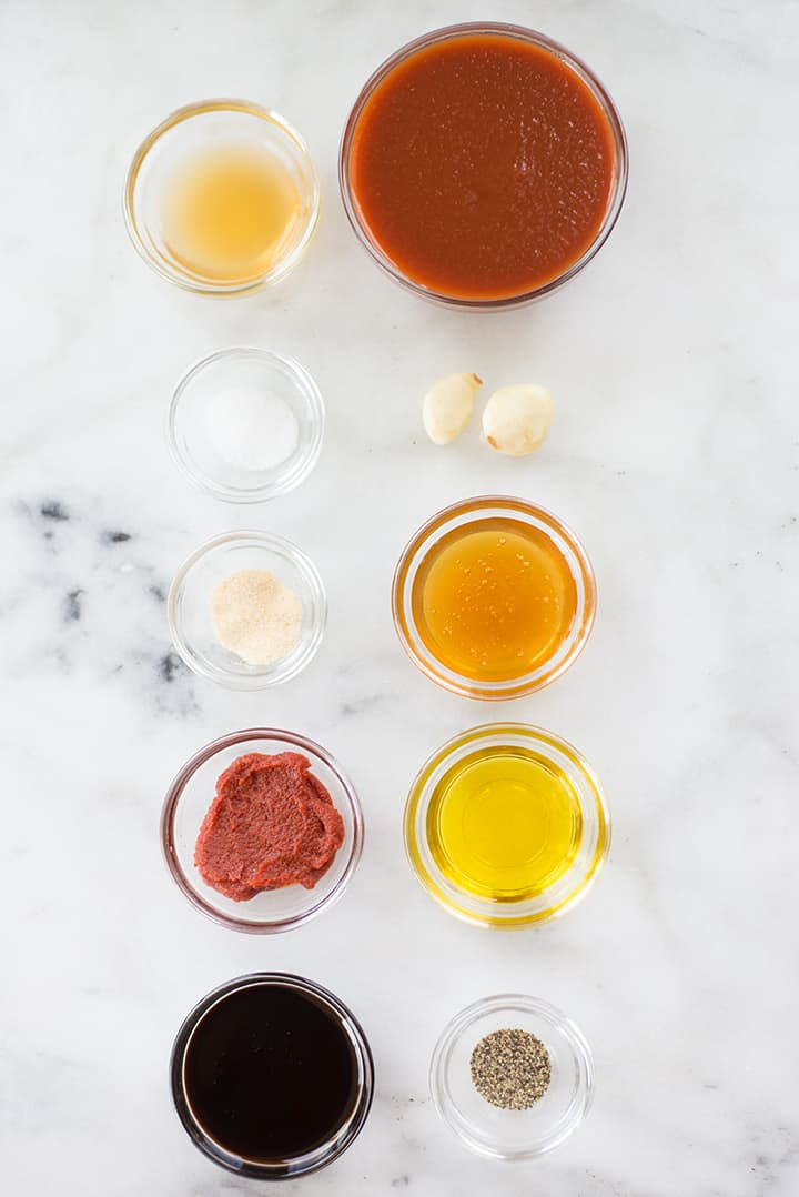 The 10 ingredients required for making sweet bbq sauce laid out and ready to be combined.
