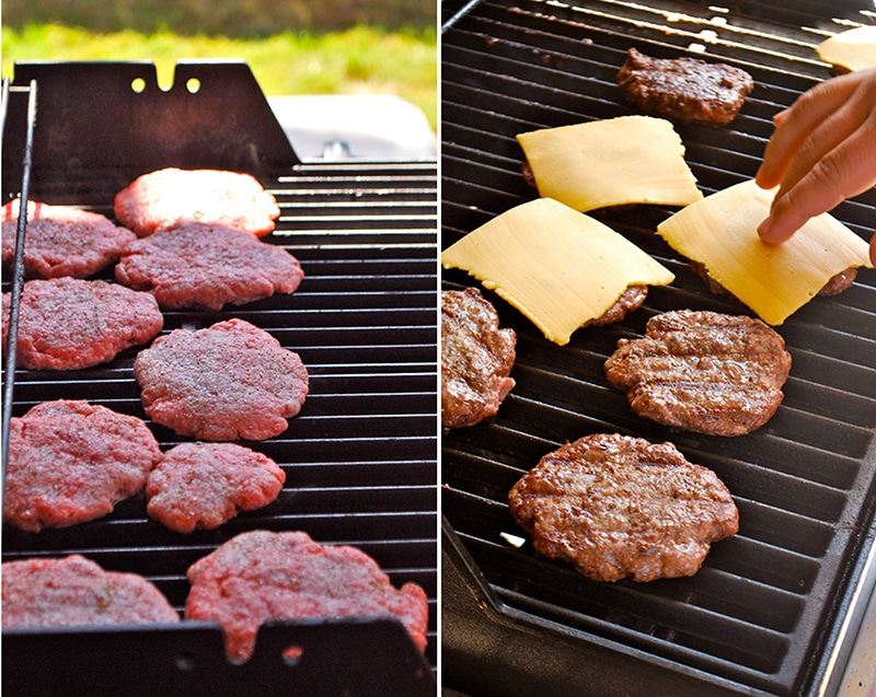 Side by side images of My Go-To Best Homemade Burgers on the grill ready to cook and then cooked, with added cheese.