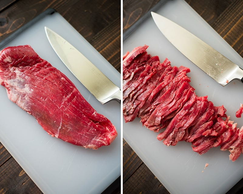 Before and after pictures showing how to thinly slice the flank steak for the Healthy Beef And Broccoli Recipe