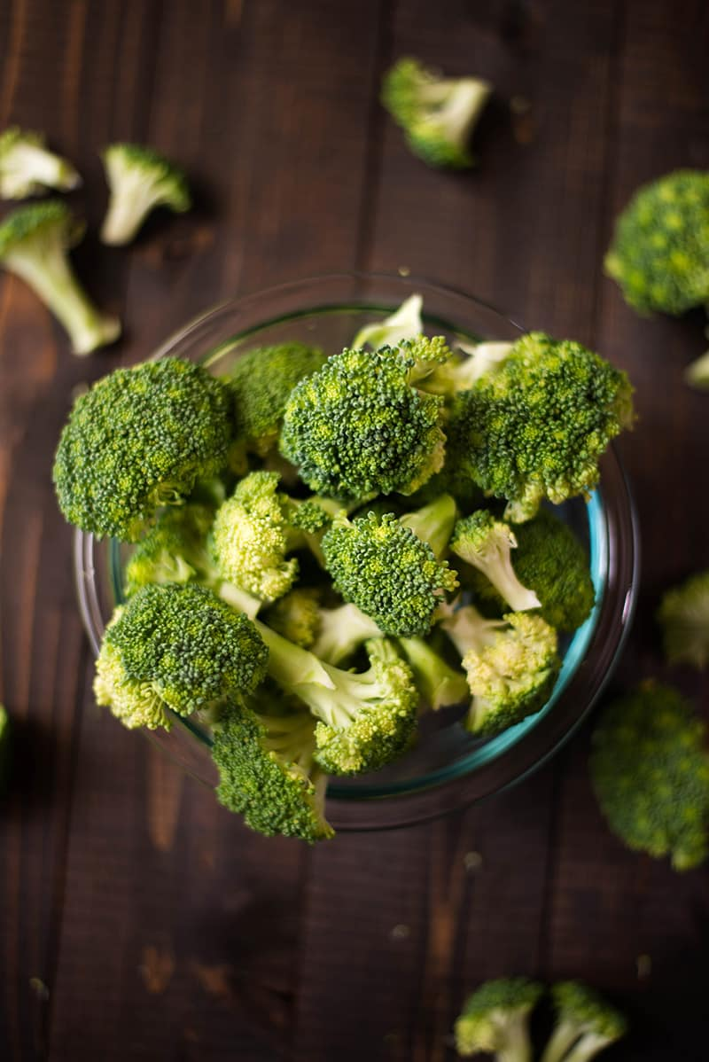 Bowl of raw broccoli florets, which will be used in the beef with broccoli.