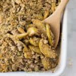 This Healthy Apple Crumble is apple and spice goodness, and a good-for-you crumble all rolled into one. With nuts, pepitas, and tasty cinnamon, this is a gluten-free clean eating dessert soon to be your next favorite!