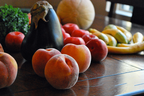 Organic-Peaches-and-Eggplant