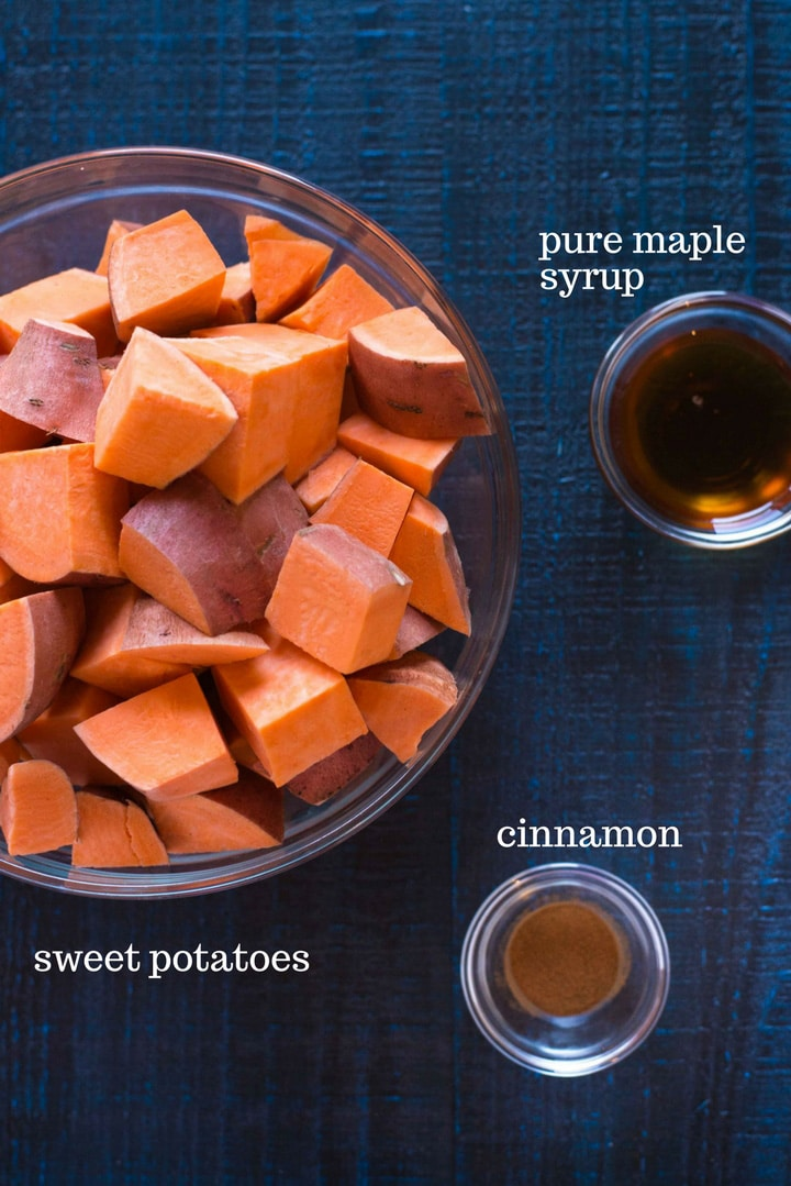 The three ingredients you need to make these mashed sweet potatoes from scratch, which include raw sweet potatoes, ground cinnamon, and pure maple syrup.