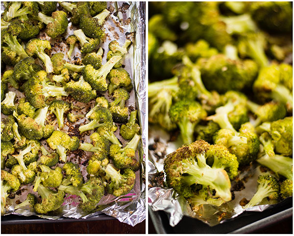 Two angles of the roasted broccoli after being removed from the oven. Can see the golden brown edges to show the baked broccoli is cooked and tender.