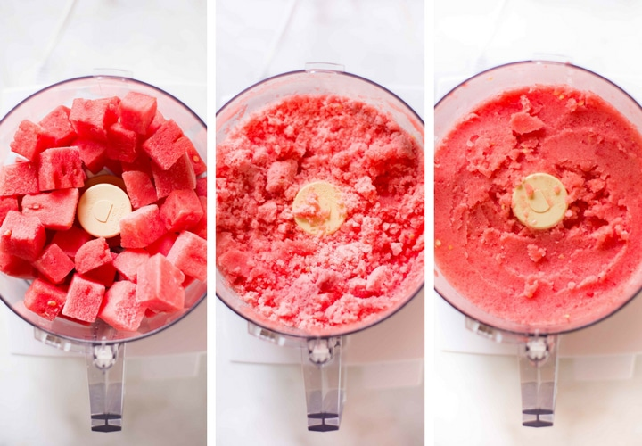 The three stages of making watermelon sorbet using a food processor, from the frozen chunks to the crumbly watermelon to smooth sorbet.