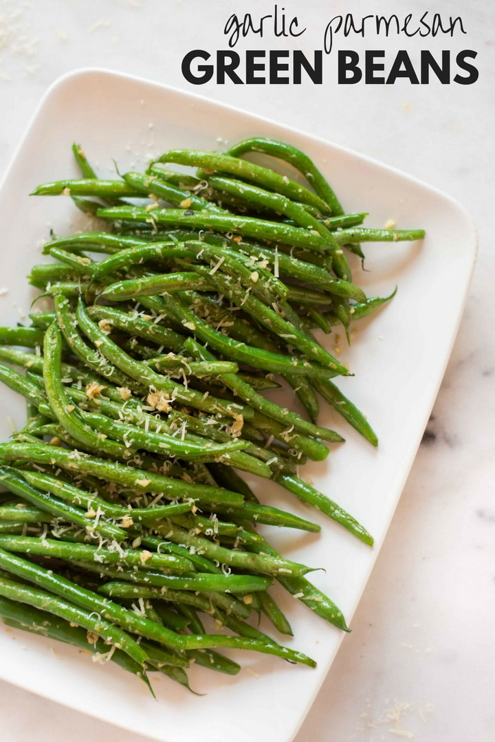 Garlic Parmesan Green Beans | These Garlic Parmesan Green Beans are an easy vegetarian side that require just 6 ingredients and 15 minutes! | A Sweet Pea Chef