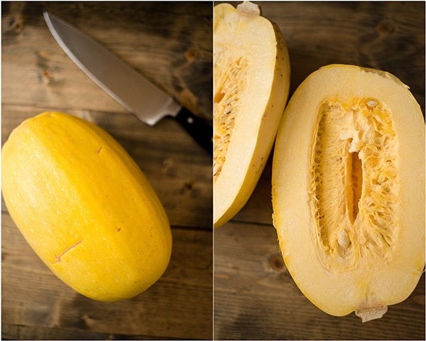 Two images, side by side, one before of a whole spaghetti squash, and the other after slicing the spaghetti squash in half lengthwise to prep for baking.