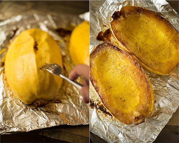 Side by side images of baked spaghetti squash. Left image shows how to tell if spaghetti squash is cooked (when fork can easily pierce skin). Right image is the baked spaghetti squash that has been flipped over and is ready to be pulled into spaghetti squash noodles.
