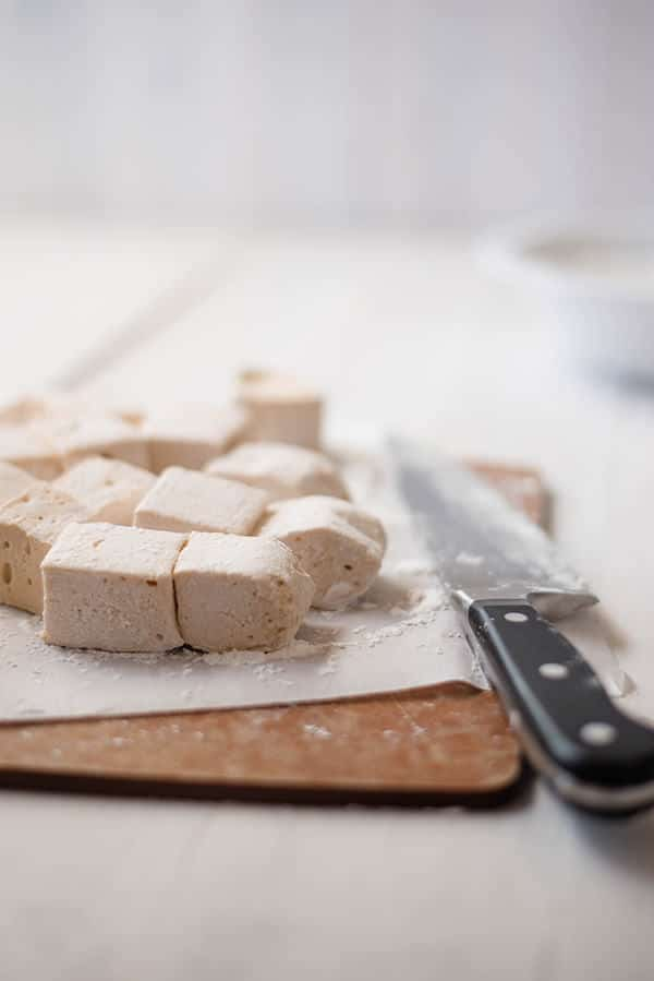 Homemade Marshmallow Recipe - Cutting into cubes