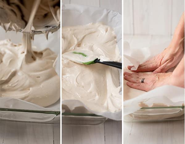 Homemade Marshmallow Recipe - Spreading into mold
